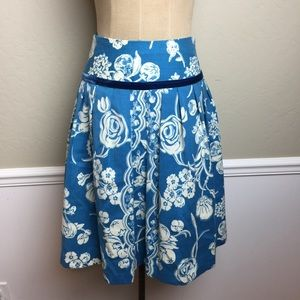 Tracy Reese print wool pleated skirt